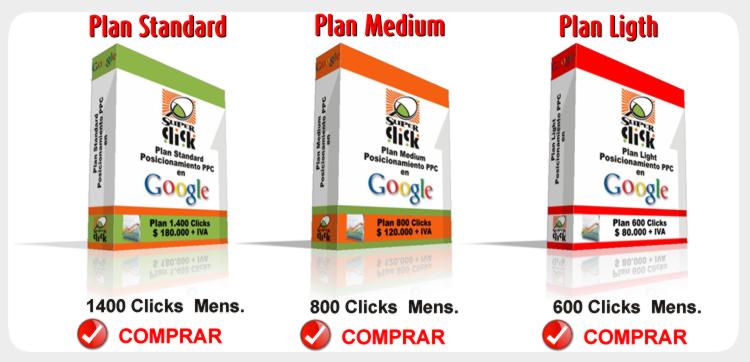 Planes de posicionamiento web en google, Planes SuperClick, posicionamiento en google a través de google adwords, campañas de posicionamiento en el buscador numero uno del mundo