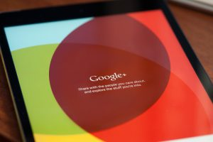 MOSCOW, RUSSIA - APRIL 27, 2015: Google plus is online social network service.